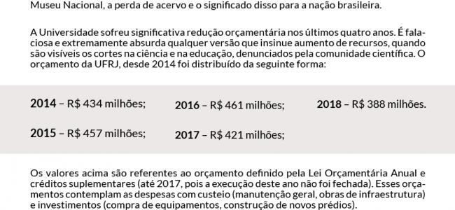 Nota da Reitoria sobre orçamento da UFRJ