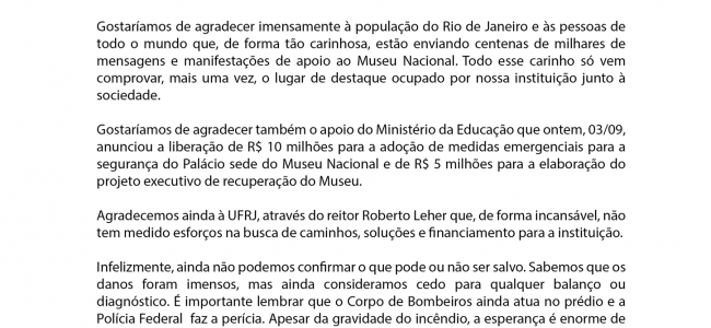 Nota do Museu Nacional à Imprensa, 04/09/18